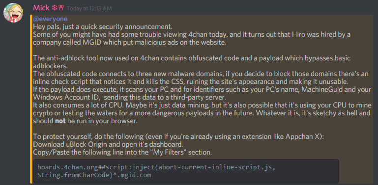 Security PSA: If you use 4chan, the site ran ads today that forced